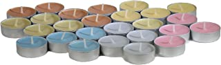 CandleNScent Unscented Tea Lights Candles   Variety Pack   Pink - Yellow - Grey - Light Blue - Orange - Ivory - Made in US...