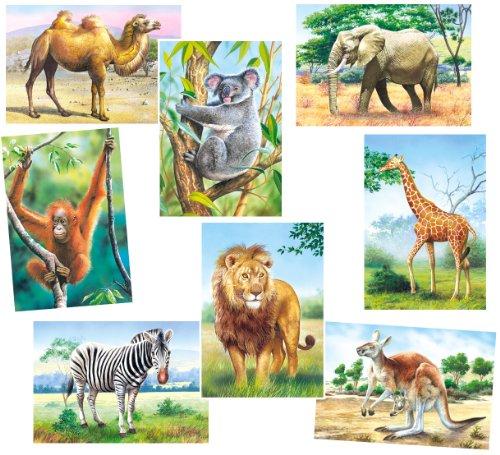 alles-meine.de GmbH 8 TLG. Set: Mini Puzzle / Minipuzzle 24 Teile - Tiere / Zootiere - für Kinder Kinderpuzzle Minipuzzles Giraffe Löwe AFFE Zebra Zoo Tier Afrika