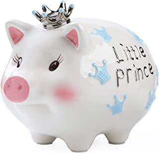 FORLONG FL2038 Ceramic Piggy Bank Coin Bank Crown Prince Money Box for Boys-Blue