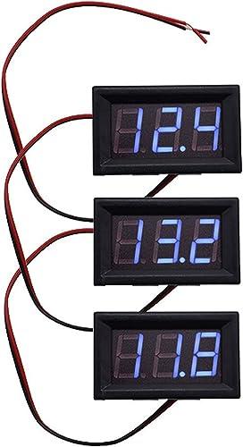 discount 3pcs Blue DC 0-30V LED 3-Digital Display popular Voltage Meter Voltmeter Panel high quality Motorcycle online sale