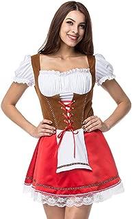 Damen Dirndl Kostüm 3Set Bayerisches Oktoberfest Halloween Karneval De Rose 42
