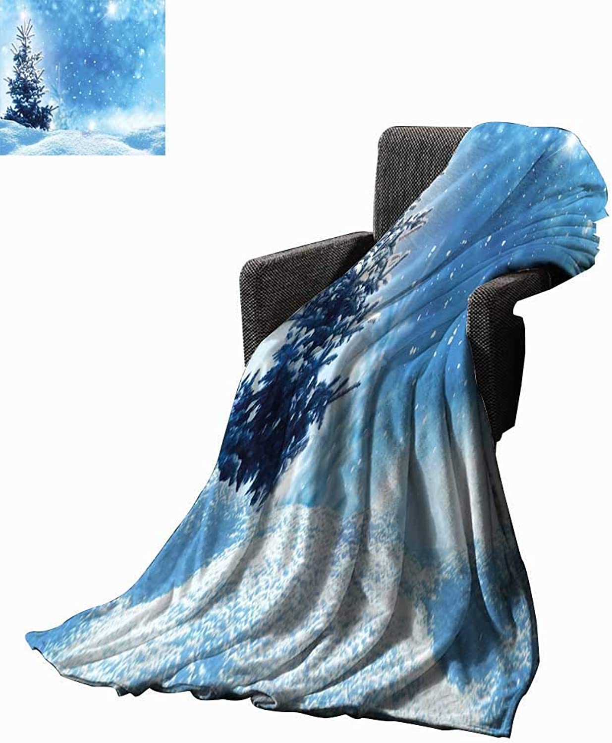 Winter Digital Printing Blanket Artistic Rendition of Snowy Season of Year Frozen Pine Tree Snowflakes Falling Down 60 x50 ,Super Soft and Comfortable,Suitable for Sofas,Chairs,beds