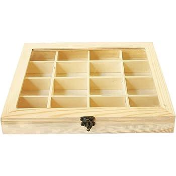 C1 Caja de Madera con 12 Compartimentos 25.8 X 19.8 X 5 cm: Amazon ...