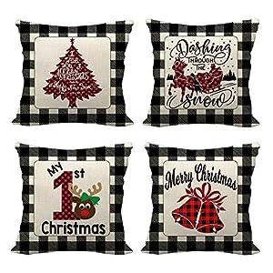 Anyingkai 4PCS Fundas Cojines de Navidad,Cojines Navideños para Sofa,Cojines Decorativos para Sofa Navidad,Cojines Navidad,Funda de Almohada de Navidad (Cuadros Negros)