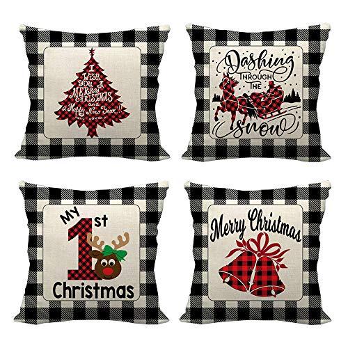 Anyingkai 4PCS Weihnachten Kissenbezug,Kissenbezug Leinen,Weihnachten Dekokissen,Weihnachten Kissen Set,Weihnachten Kissen,Weihnachtskissenbezug 45x45
