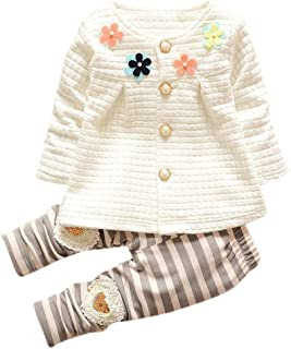 2 Pcs/Set WuyiMC Baby Toddler Kids Girls Cotton Flower Cardigan Coat+Long Pants Clothing Sets