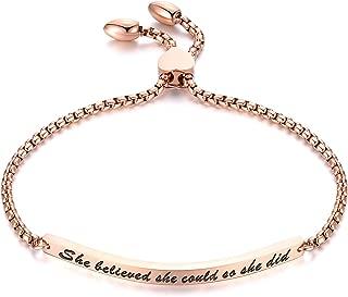GAGAFEEL Cuff Bracelet Inspirational Jewelry Nevertheless, She Persisted Women Bar Bangle Link Birthday Xmas Gift