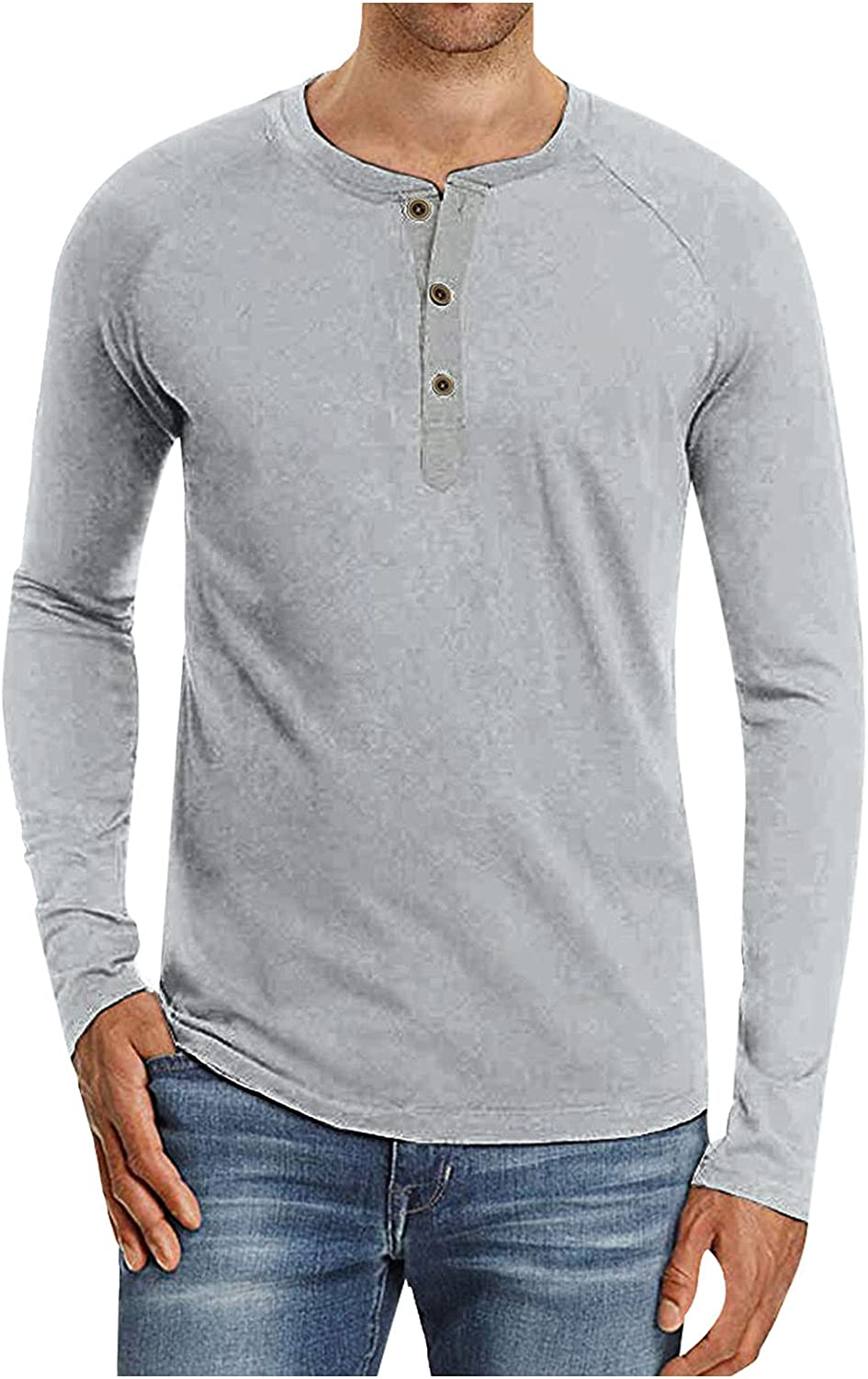PAOGE Men's Casual Basic Solid Color Button Long Sleeve Jacket Top Blouse