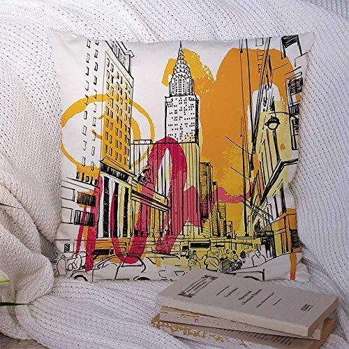 Fundas de almohada Negocio Nueva ciudad York Bosquejo EE.UU.Cielo Horizonte horizontal Puntos de referencia Día abstracto Amarillo Púrpura Rosa Fundas de almohada Funda de cojín 45 X 45CM