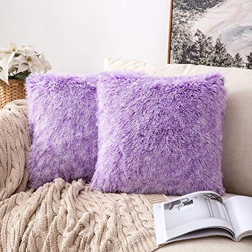MIULEE Fluffy Soft Decorative Square Plush Pillow Case Faux Fur Cushion Covers For Sofa Bedroom Chair 18 x 18 Inch 45 x 45 CM Set of 2 Purple