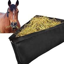 ASOOLL Alimentador de esquina negra para caballos con remolque de malla inferior Bolsas de heno con broches