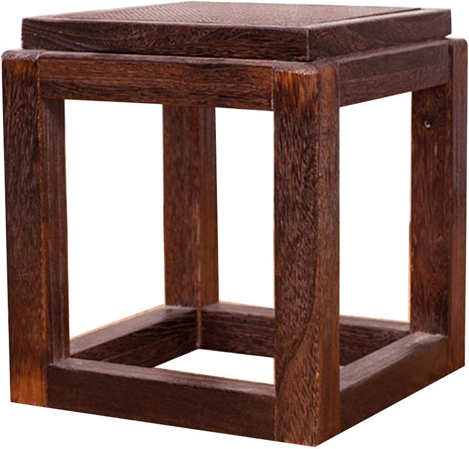 LSXIAO Cushions and footrests Small Stool Solid Wood Bracket Structure Indoor Change shoes Classical (color   Brown, Size   30X30X32CM)