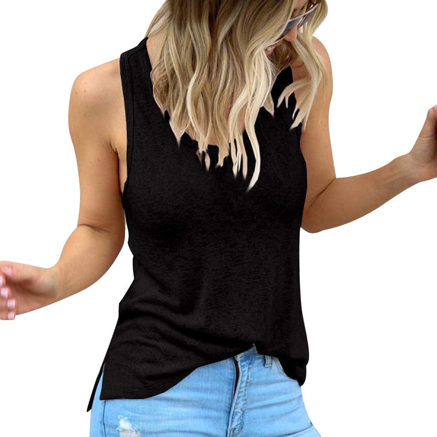 Cewtolkar Women Summer Tank Tops Round Neck Sleeveless Vest Shirt Casual Tunic Camisole Party Blouse