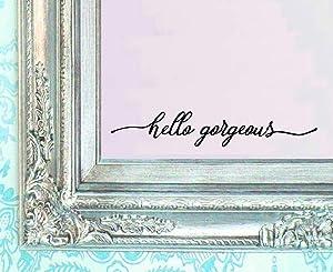 BERRYZILLA v3 Hello Gorgeous Decal Mirror Make Up Women Fashion Beauty Confidence Decor Art Wall for Salon Bathroom Decoration Sticker