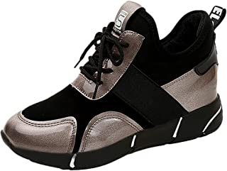 Qootent 2019 Women Casual Trainers Flats PU Platform Sneakers Cross-tied Shoes