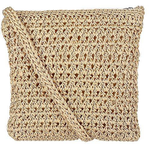 CTM Women's Crochet Crossbody Handbag