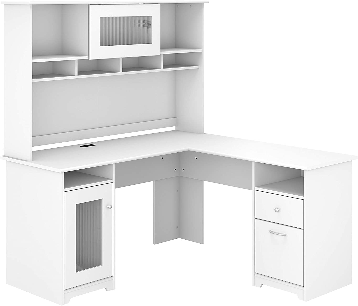 Bush Furniture Cabot 2021 60W Max 61% OFF L Shaped with Whit Hutch Computer Desk