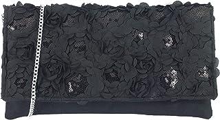 LONI Women's Glitzy Sequin Satin Clutch Shoulder Bag Medium Black