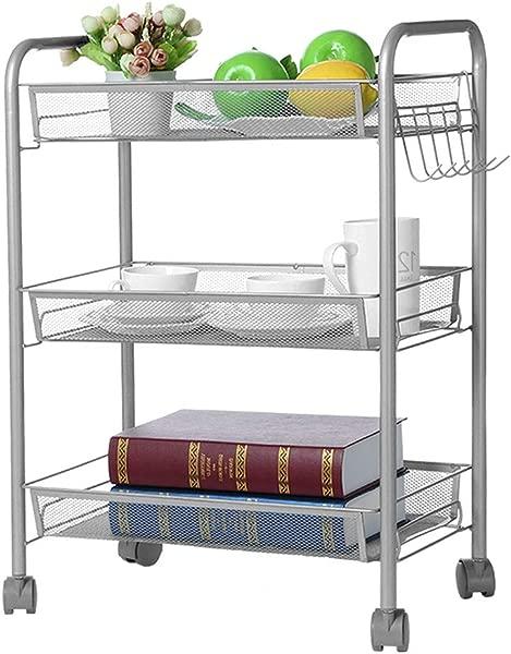 UMei 3 Shelf Storage Rack And Shelving Mesh Wire Basket Kitchen Storage Cart Storage Shelf With Wheels US Stock Silver