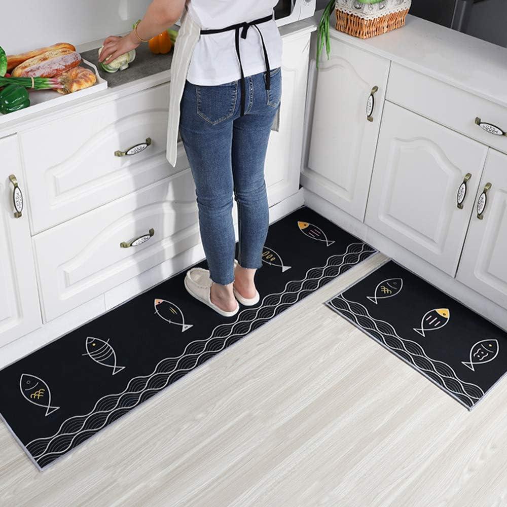 Kitchen mats 2 Piece Machine Washable 人気激安 セール品 and Ru Thick Non-Slip Soft
