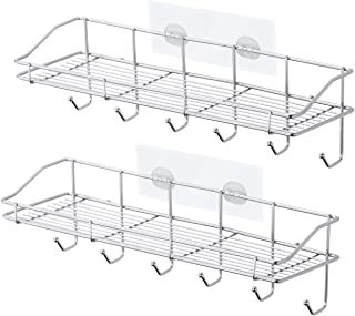 ivkey Shower Caddy, Stainless Steel Wall Mounted Bathroom Shelf with 6 Hooks and Adhesive, Storage Organizer for Toilet, Dorm and Kitchen (Silver, 2 Pack)