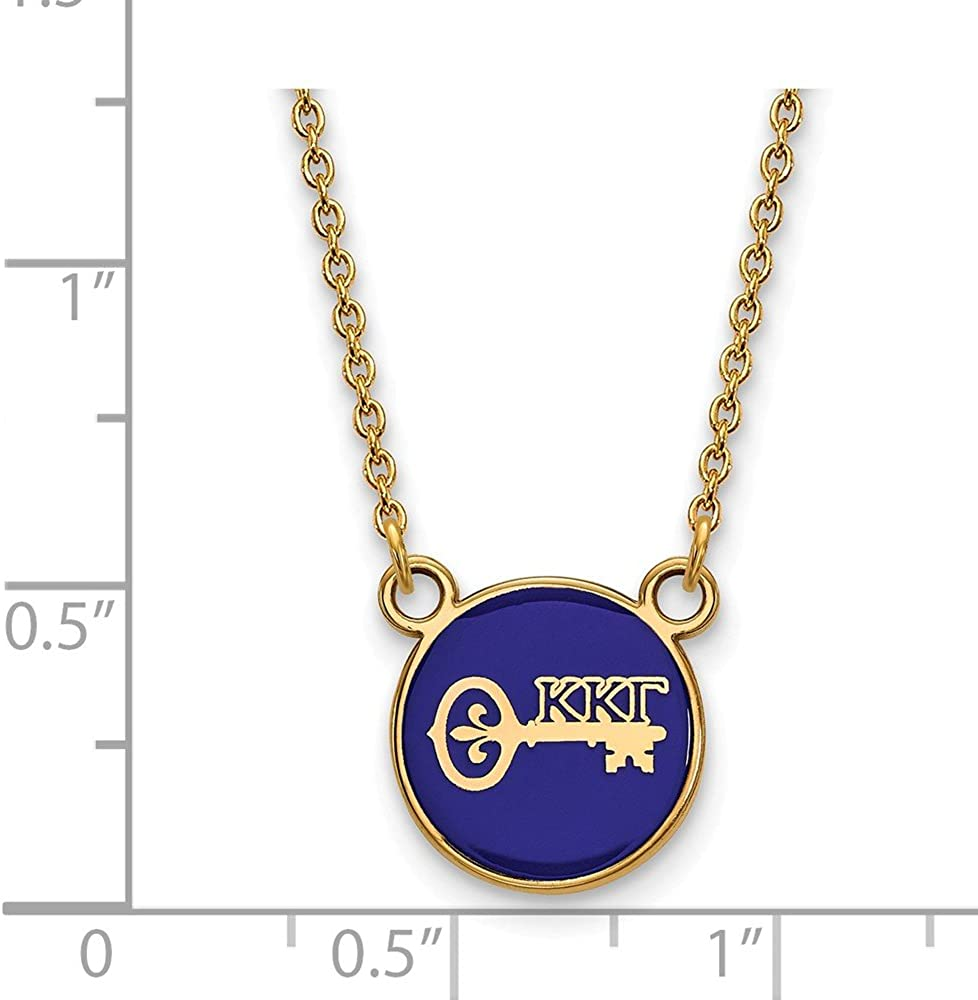 925 Sterling Silver Enamel Gold-Plated Official Kappa Kappa Gamma Small Enl Pend Pendant Necklace Charm Chain with Secure Lobster Lock Clasp