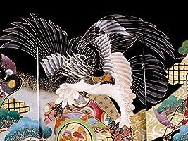 【正絹】 お宮参り着物 (初着・産着) 男児 M2-11 鷹に熨斗目柄・黒地 新品仕立上り もれなく5大特典付!