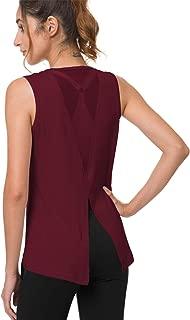 Harsmile Women's Flowy Mesh Yoga Workout Tank Tops Sexy Open Back Muscle Sleeveless Sports Shirts