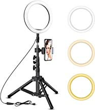 10 inch Ring Light with Tripod Stand - Rovtop LED Camera Selfie Light Ring with iPhone Tripod and Phone Holder for Video Photography Makeup Live Streaming, Compatible with iPhone and Android Phone