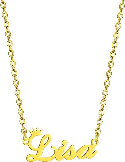 SKQIR Gold Custom Women Name Necklace Personalized