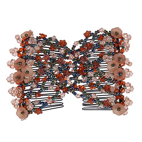 Lovef Flower Multifunction Easy Magic Hair Comb Stretchy Beaded Hair Comb in Small Beads Hairpin Plate Hair (Coffee)