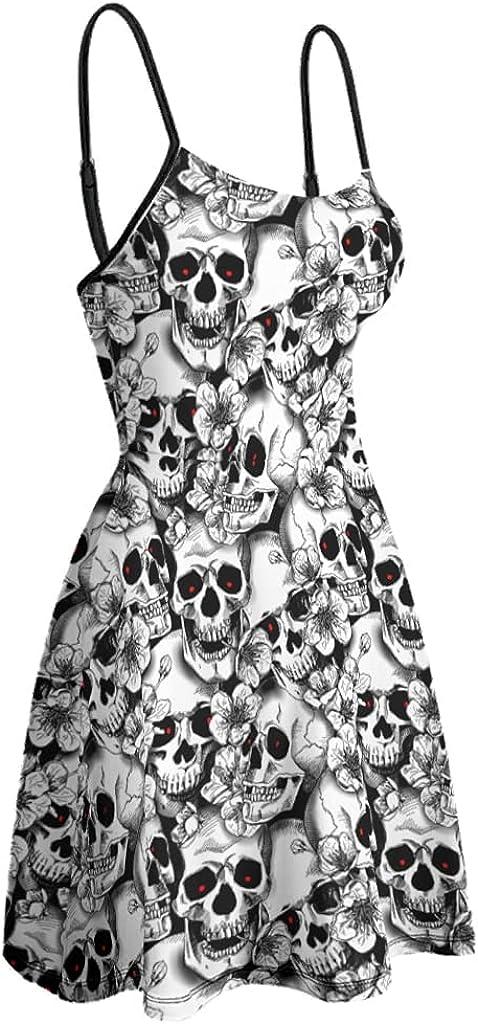 Bhqcflkwpz Dress for Women Pile of Skulls Strap Dress Adjustable