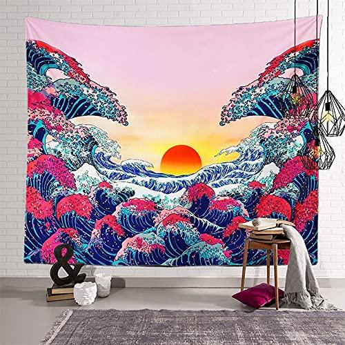KHKJ Tapiz japonés con Olas oceánicas, cabecero de Pared, Colcha de Arte, Tapiz de Dormitorio para Sala de Estar, decoración del hogar, A17, 95x73cm