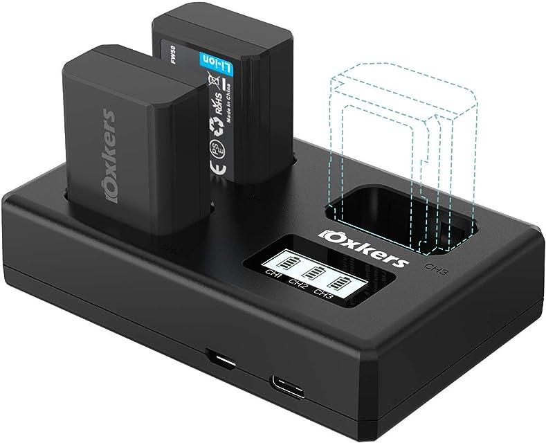 Sony NP-FW50 OXKERS 2X 1100mAh Batería y Cargador de Sony con Cargador Triple y Dos Puertos de Carga (Micro USB y Tipo C) para Sony A6000 A6400 NEX-3 SLT ILCE Serie Alpha etc.