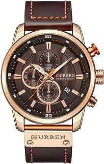 Men Leather Strap Military Watches Men's Chronograph Waterproof Sport Wrist Date Quartz Wristwatch Gifts (Gold Brown)