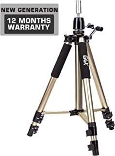 GEX Upgraded Heavy Duty Canvas Block Head Mannequin Tripod Cosmetology Training Doll Manikin Head Tripod Wig Stand With Travel Bag (Vintage Gold)