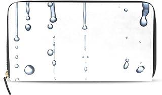 旅立の店 長財布 人気 レディース メンズ 大容量多機能 二つ折り ラウンドファスナー PUレザー  水滴柄 簡単 ウォレット