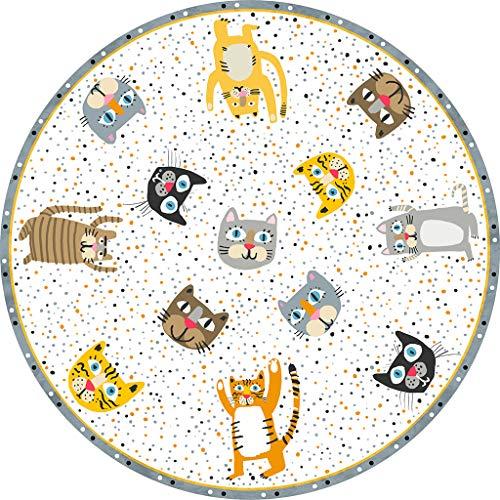 VILBER Kids Alfombra Vinilo Infantil Cats Color 10 Diámetro 65 cm. 2 Colores y 5 Medidas