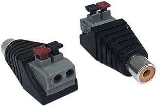 CERRXIAN RCA Female to 2 Screw Terminal Strip Speaker Phono AV Audio Video Spring Press Type Balum Connector Adapter (2-Pack)