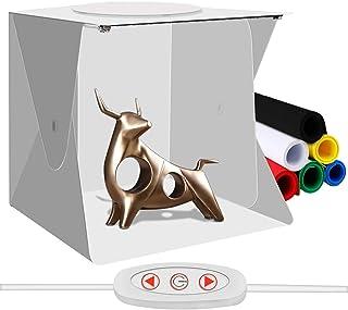 Mini Caja de Estudio Fotográfico Portátil Kit de Carpa de Fotografía pequeña Plegable Plegable WANXIAN Caja de Luz con Orificio Superior Tiras de LED de Brillo Ajustable y 6 Colores