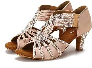 Swarovski Rhinestones Ballroom Dance Shoes Women Latin Salsa Practice Wedding Indoor Shoes 2.5in Heels YT05