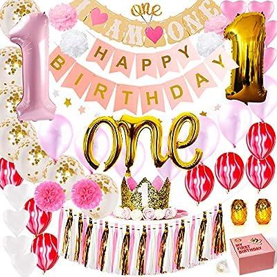 baby girl 1st birthday decorations pink