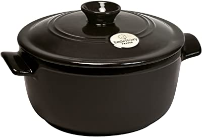 Emile Henry France Flame Round Stewpot Dutch Oven, 4.2 quart, Charcoal