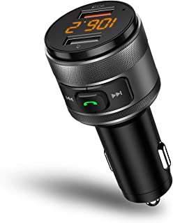 IMDEN 汽车蓝牙 FM 发射器,QC3.0 无线蓝牙 FM 收音机适配器音乐播放器 FM 发射器/车载套件,免提通话,2 个 USB 端口充电器支持 USB 驱动器。