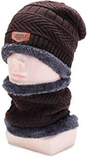 ZiWen Lu New Korean Men's Winter Knit hat and Velvet Jacket Wild Casual Cap Thick Warm Neck Guard Wool Cap (Color : Brown, Size : Adjustable)