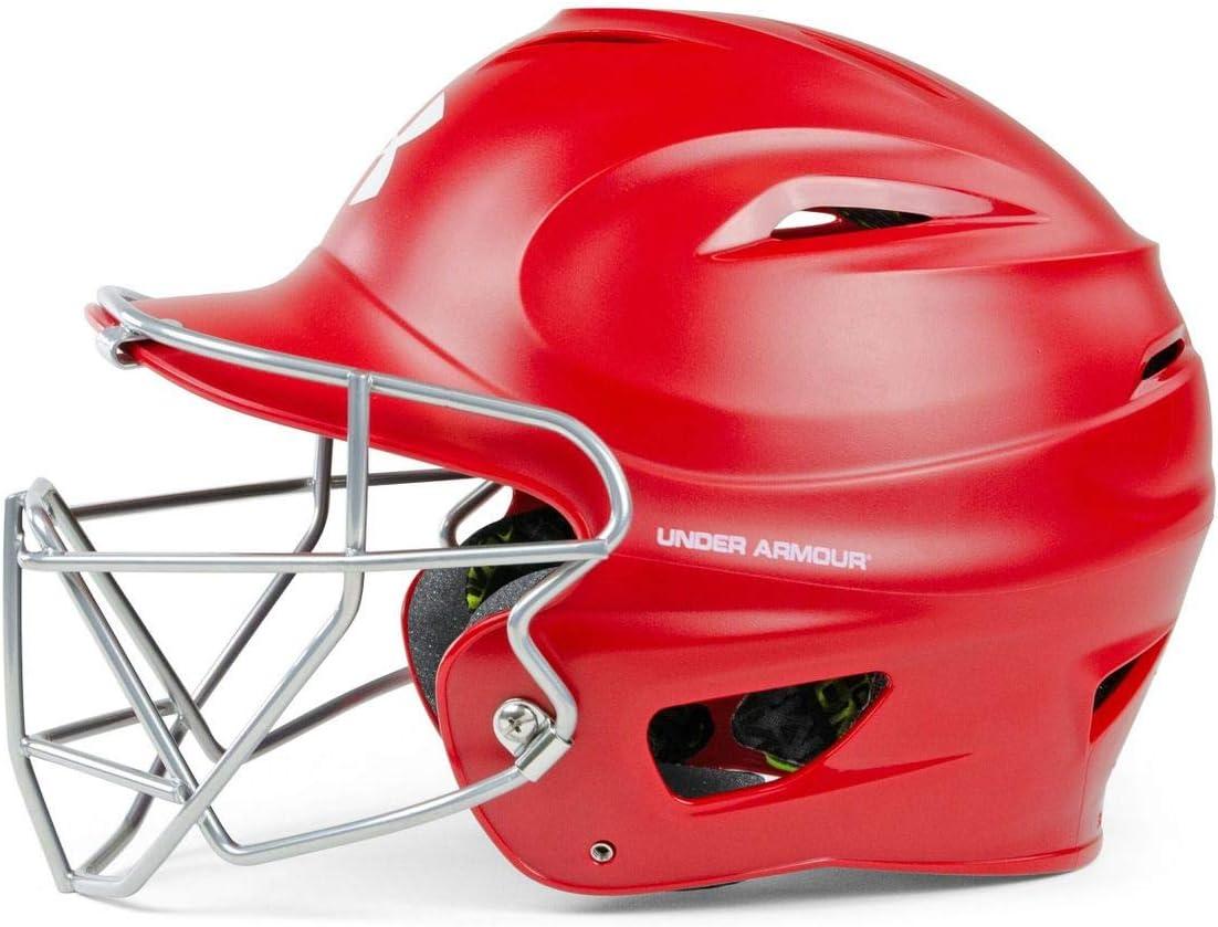 Navy Right Hitter Under Armour UA Pro Matte Baseball Batting Helmet Jaw Guard