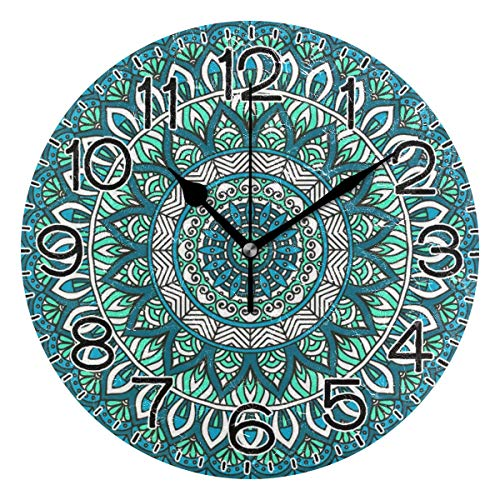 Mdt Reloj de pared bohemio, con diseño de mandala indio, funciona con pilas, de cuarzo, silencioso, analógico, rústico, rústico, de estilo retro, decoración para el hogar, cocina, sala de estar, baño