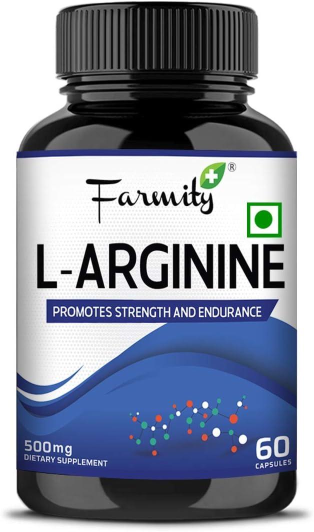 Dharma 70% OFF Outlet Farmity famous L Arginine Supplement 500mg Essential Pre-Workout