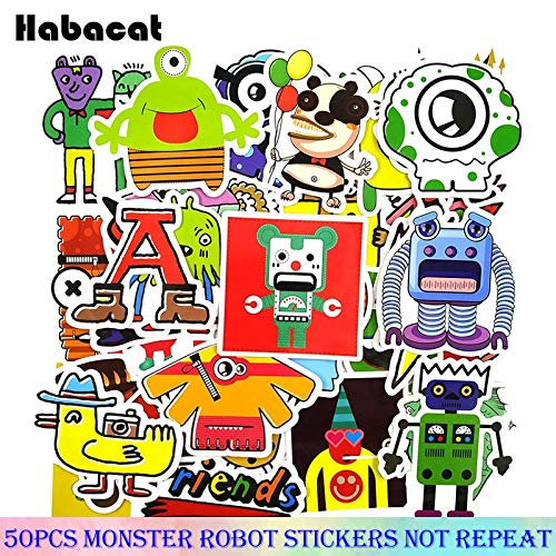 Grappige Kleine Monster Robot Stickers Voor Motorfiets Skateboards Fietsen Laptop Computers Mobiele Koffers Stickers 50 Stks/pak