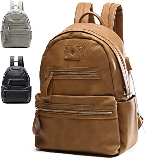 Laptop Backpack by Miss Fong,Leather Backpack Women Travel Backpack Backpack for School with USB Charger, Fits 13 inch Laptop (Brown)